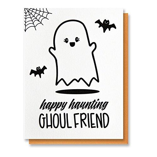 Funny Halloween Letterpress Card | Ghost | Happy Haunting Ghoul Friend | BFF Bestie