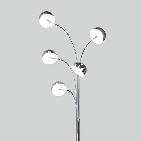 Meubletmoi Argos Lámpara de 5 bombillas, cromada, con pie de ...