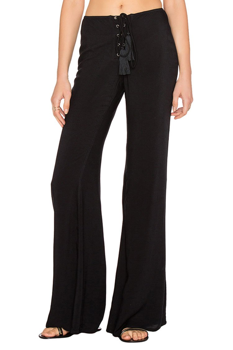 LOV ANNY Womens Black Casual Flared Pants Stretch Bell Bottom Pants XL