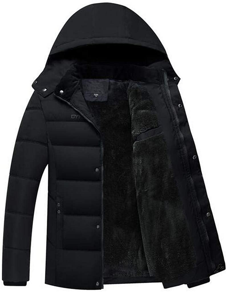 MMCP Mens Warm Faux Fur Lined Hoodie Winter Down Quilted Coat Jacket Outwear