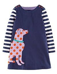 Jobakids Little Girls' Cotton Striped Applique Cartoon Long Sleeve Dresses