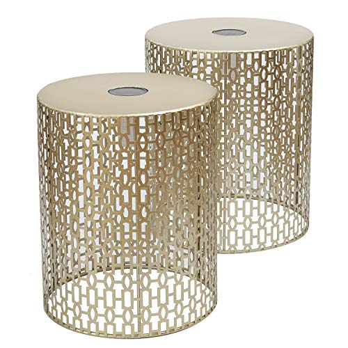 Joveco Metal Iron Strip Structure Stool Gold Nesting Tables End Table Side Table with Solar Lamp (Silver)