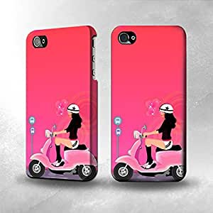 Apple iPhone 5 / 5S Case - The Best 3D Full Wrap iPhone Case - Girl Scooter Cartoon Full Wrap