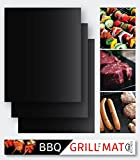 BBQ Grill Mat, Set of 3 Premium Non-Stick Reusable Mats from M&A Kitchen, Ideal for Charcoal, Electric and Gas Grill, Easy to Clean + FREE Recipe eBook, FDA-Approved, PFOA Free, 15.75'' x 13'' black