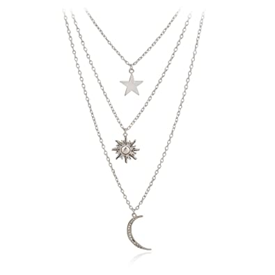 Amazon jane stone fashion jewelry fancy multi layer galaxy jane stone fashion jewelry fancy multi layer galaxy pave moon star sun pendants chain necklace mozeypictures Gallery