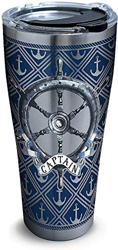 (Tervis 1302026 Captain Wheel Stainless Steel Insulated Tumbler with Clear and Black Hammer Lid, 30oz, Silver)