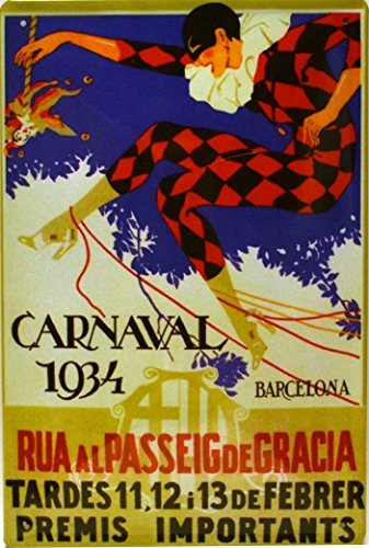 Tin poster sign, with retro vintage design from Catalunya/Spain. Tin sign.