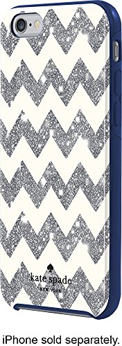 Kate Spade New York Protective Case for iPhone 7 and iPhone 6 - Chevron Glitter / Silver Navy