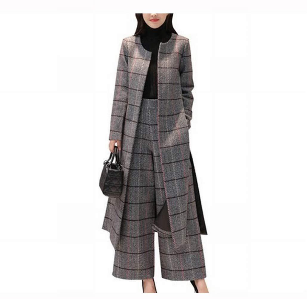 Women's Warm Coat Two-Piece Wide-Leg Pants Suit, Women's Spring and Autumn Long Plaid Over-The-Knee Woolen Coat, Woolen Coat CWJ Women' s Spring and Autumn Long Plaid Over-The-Knee Woolen Coat