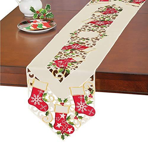 Christmas Stockings Table Runner/Topper Linens, Elegant Cut Work, Detailed Embroidered Red Green and Gold Art, Runner