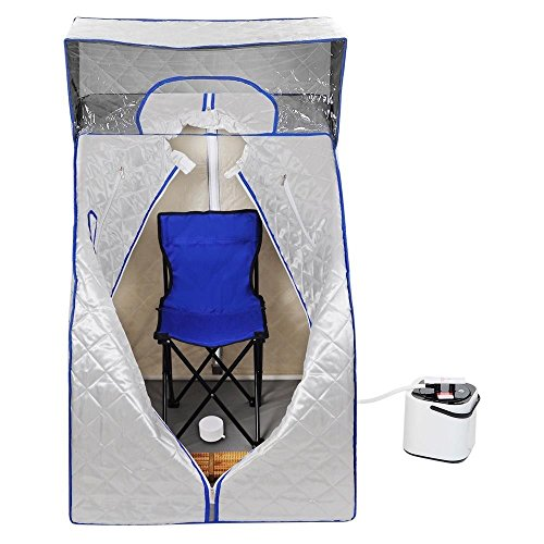 NEW LEAF 2L Portable Steam Sauna Personal SPA Slimming w/ Cover Silver by New Leaf