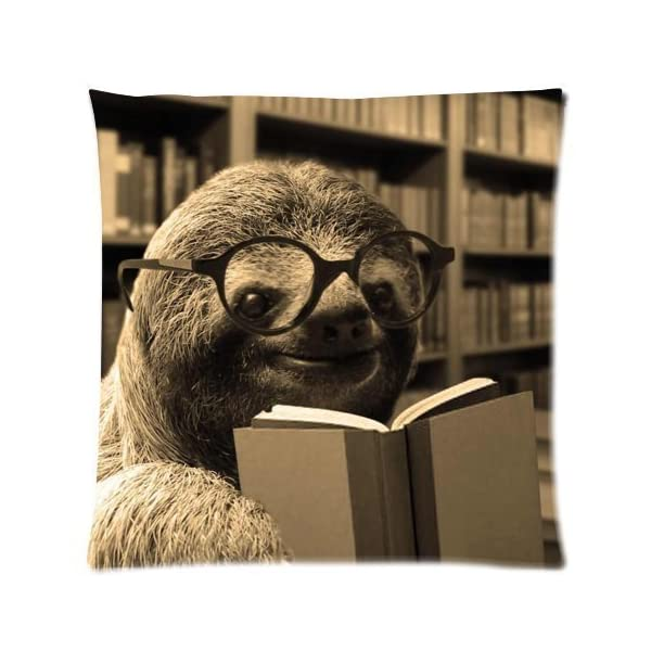 Funny Sloth Reading Books Throw Pillow Case Decor Cushion Cover - Square 18X18 Inch Pillowcase -