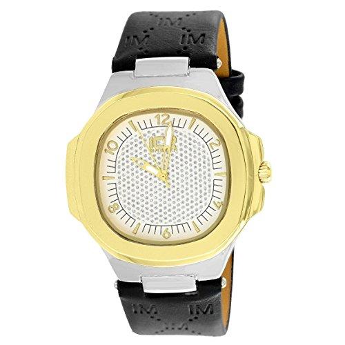 2 Tone Watch Gold White Black Leather Strap Elegant Joe R...