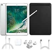 2017 New IPad Pro Bundle (5 Items): Apple 10.5 inch iPad Pro with Wi-Fi 512 GB Silver, Leather Sleeve Black, Apple Pencil, Mytrix USB Apple Lightning Cable and All-in-One Travel Charger