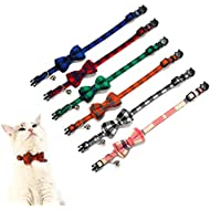 Crystal Pets Collar for Cat and Dog with Bells Plaid Bowtie Style Adjustable Breakaway Kitty Collars, 2 Pcs Personalization Options (Red & Blue)