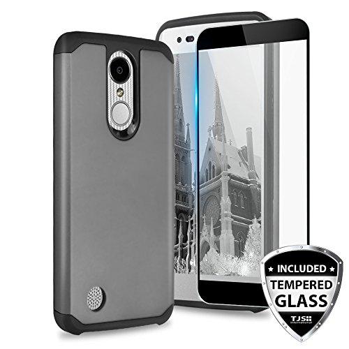 TJS Case for LG Aristo 2/Aristo 2 Plus/Aristo 3/Aristo 3 Plus/Tribute Dynasty/Tribute Empire/Fortune 2/Rebel 3 LTE [Full Coverage Tempered Glass Screen Protector] Hybrid Armor Phone Cover (Grey)