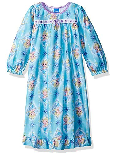 Disney Frozen Elsa Anna Girls Flannel Granny Gown Nightgown (Blue/Multi, -
