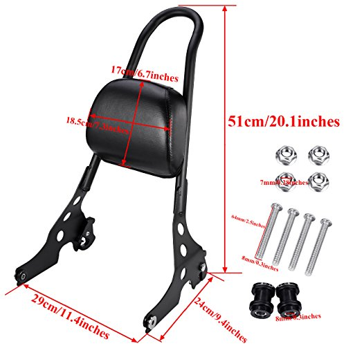 INNOGLOW Motorcycle Black Detachable Solid Steel Sissy Bar and