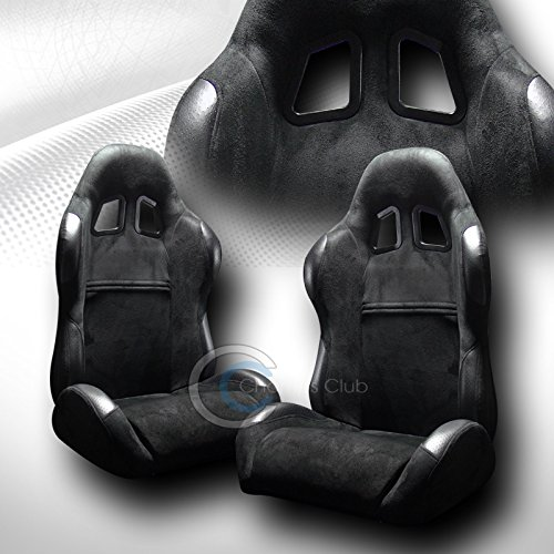 R&L Racing 2 Universal Sp Sport Black Suede Leather Reclinable Racing Bucket Seats+Slider C02 ()