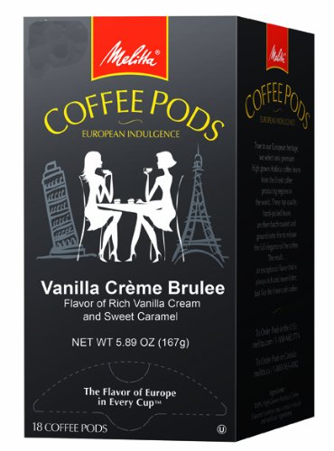 Melitta Coffee Pods, Vanilla Creme Brulee Flavored Coffee, Medium Roast, 18-Count, 5.89 oz (Pack of 4)