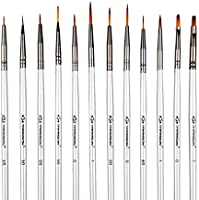 Transon Artist Miniature Detail Paint Brushes Set of 12pcs for Acrylic, Oil, Gouache, Watercolor, Tempera, Enamel, Nail and Body Painting