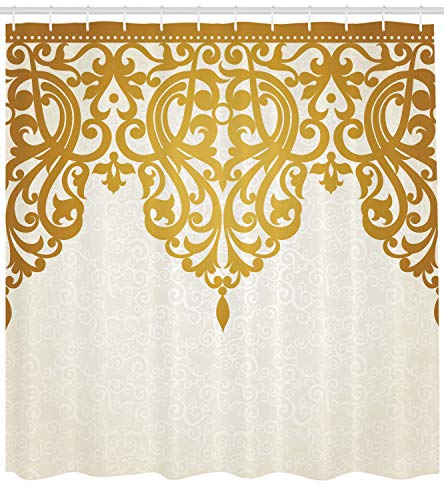 Ambesonne Antique Shower Curtain, Victorian Style Medieval Motifs with Classic Baroque Oriental Shapes Print, Cloth Fabric Bathroom Decor Set with Hooks, 75 Long, Brown Cream
