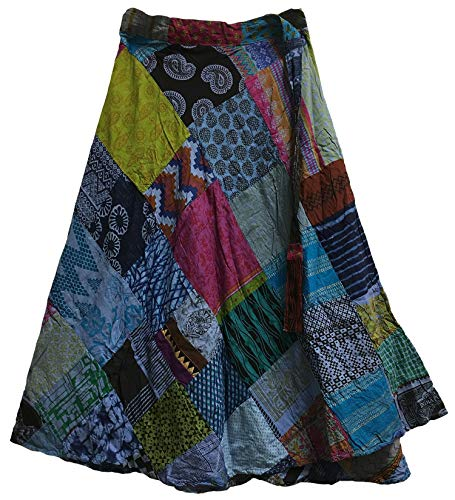 Yoga Trendz Missy Plus Vintage Ethnic Bohemian Cotton Patchwork Wrap Around Maxi Long Skirt (Blue Tones)