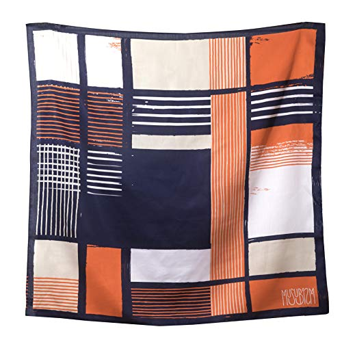 Furoshiki by Musubism, 36' Large, 100% cotton, Japanese Hand-Paint Method, Scarf, Gift-Wrapping Cloth, Tapestry, Tablecloth, Eco-Wrapping, Handbag, Unique and Stylish All in One!!(Orange) ()