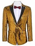JINIDU Mens Shiny Sequins Suit Jacket Blazer One Button Tuxedo Party, Wedding, Banquet, Prom, Nightclub