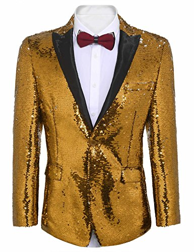 COOFANDY Shiny Sequins Suit Jacket Blazer One Button Tuxedo for Party,Wedding,Banquet,Christmas,Nightclub by COOFANDY