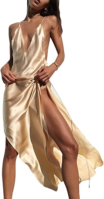 Spaghetti Femme Robe Longue En Soie Sans Manche En V Encolure Profonde Dress Dos Nu Amazon Fr Vetements Et Accessoires