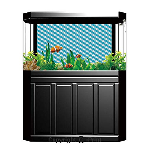 Aquarium Decoration Background,Checkered,Diagonal Stripes in Aqua Color Monochrome Crossed Lines in Classical Tile Design,Aqua White,Photography Backdrop for Photo Props Room,W48.03