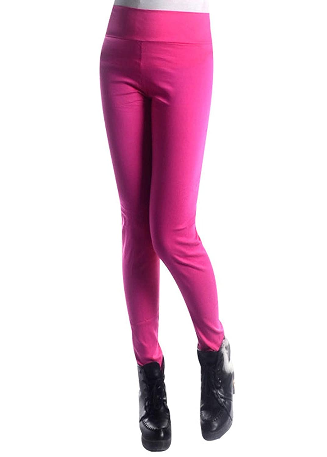 The new tall waist elastic thin pants color pencil pants pocket bound feet