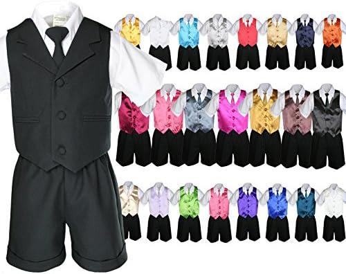 6個ベビーBoy幼児用ブラックフォーマル短パンスーツExtraベストネクタイセットs-4t