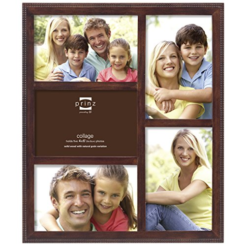 Prinz 5-Opening Sonoma Wood Collage Frame with Embossed Square Pattern, 4 by 6-Inch, Espresso (Picture Frame Expresso compare prices)