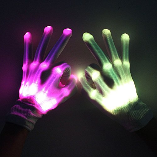 & Led Skeleton Gloves 12 Color Changeable Light Up Shows Halloween ...