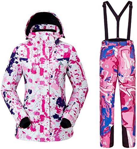 スキージャケット-防水スキースーツスノースーツ冬のスキーは、スノーボード、登山に適したセットの暖かい女性のスキージャケットとパンツをキープします-多色