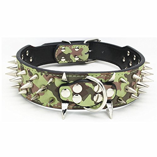 Rdc Pet Luxurious Spiked Studded Dog Collar, Padded PU Leather Collars for Medium Large Dogs - 2 Inch Width (XS, Camouflage)