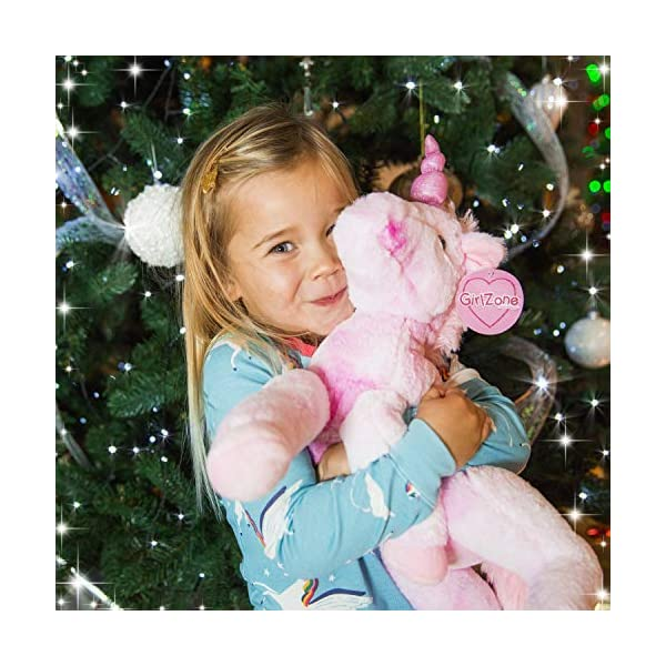 GirlZone Stuffed Pink Plush Unicorn for Girls, Large-18 Inches, Glitter Horn, Great Birthday Gift Idea 5