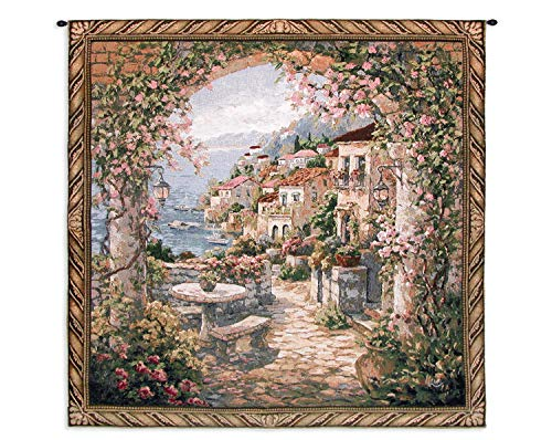 Seaview II | Woven Tapestry Wall Art Hanging | Amalfi View Through Arch Italy | 100% Cotton USA Size 53x53