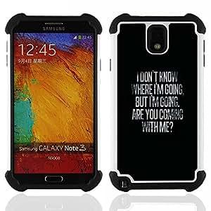 Dragon Case- Dise?¡Ào de doble capa pata de cabra Tuff Impacto Armor h??brido de goma suave de silicona cubierta d FOR Samsung Galaxy Note3 N9000 N9008V N9009- VALENTINES BLACK WHERE LOVE ME GOING