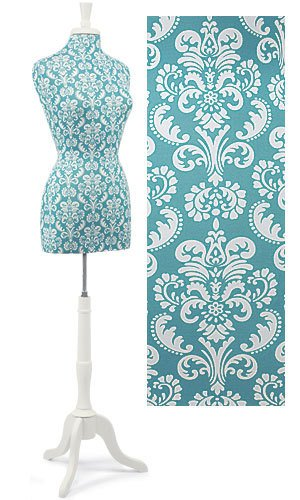 Teal Damask Jersey Dress Form with Wood Stand & Neck Finial (Polyurethane Jersey Form)
