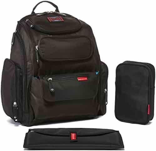 Bag Nation Diaper Bag Backpack with Stroller Straps, Changing Pad and Sundry Bag - Black