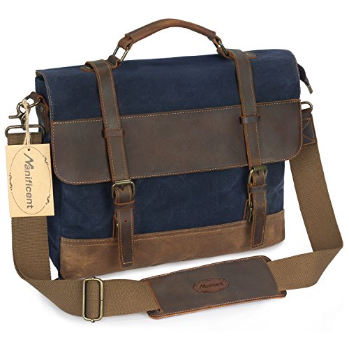 Manificent 16 Inch Men's Messenger Bag, Vintage Waxed Canvas Genuine Leather Large Satchel Shoulder Bag Waterproof Canvas Leather Computer Laptop Bag, Tablet Messenger Bag, (Blue)
