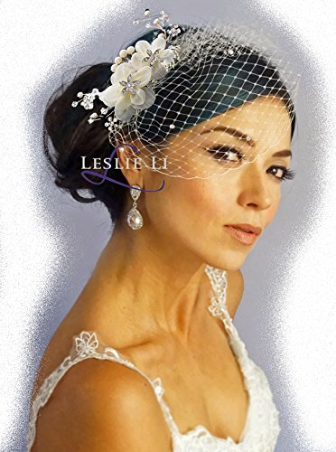 Leslie Li Women's Floret Hair Comb Pearl Crystal Sprays and