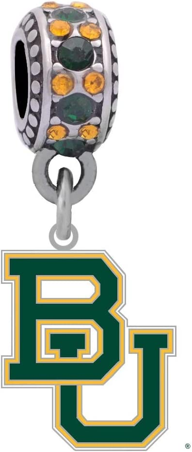 Final Touch Gifts Baylor Crystal Logo Charm Fits European Style Large Hole Bead Bracelets