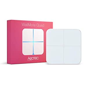 Aeotec WallMote Quad Zwave Scene Controller 4 Zwave Button Wireless Z-Wave Plus Wall Switch, Old Version, Compatible with Zwave Hub Smartthings Home Assistant Open Z-Wave