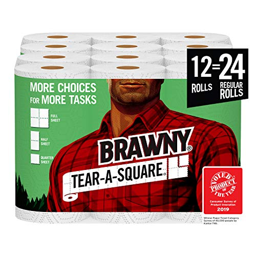 Brawny Tear-A-Square Paper Towels, 12 = 24 Regular Rolls, 3 Sheet Size Options, Quarter Size Sheets, 12 Count, 12 Count…