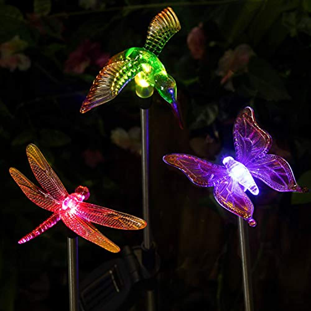 Patio Lights LED Outdoor Multicolor Changing LED Lights LED Color Changing Solar Stake Lights Outdoor - Solar Light LED Garden Decor Statues BRIGHT ZEAL Dandelion, Lily, Sunflower Set of 3
