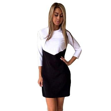 5008991481d5a Angelof Robe Longue Femme Chic pour Fillette Mode Ladies Bodycon Robes  SoiréE Mini Patchwork Robe (